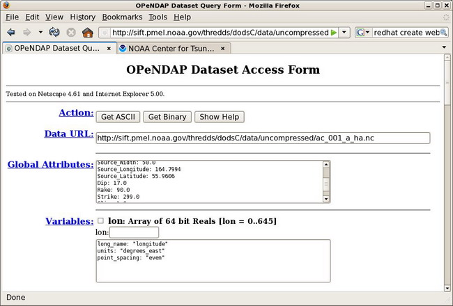 screen snapshot of opendap dataset access form