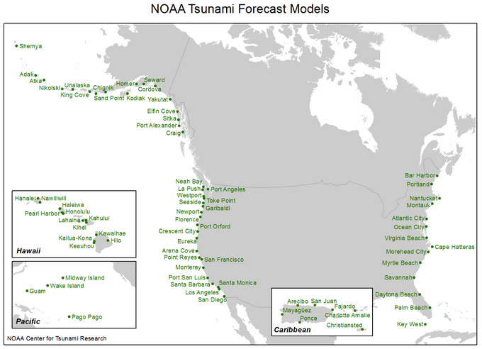 map showing locations of inundation forecast models