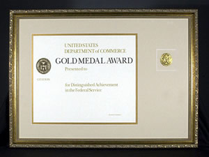 image of sample framed DOC Gold Medal Award