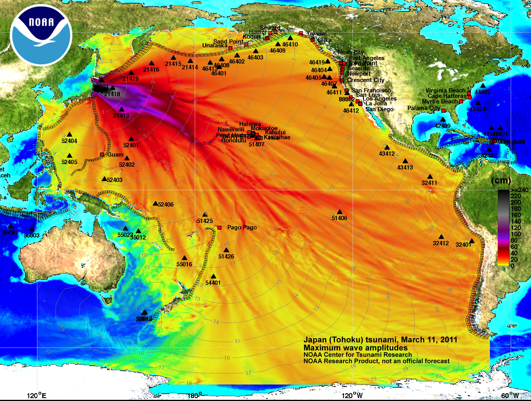 Noaa center for tsunami research tsunami event march 11 2011 high resolution maximum amplitude plot gumiabroncs Image collections