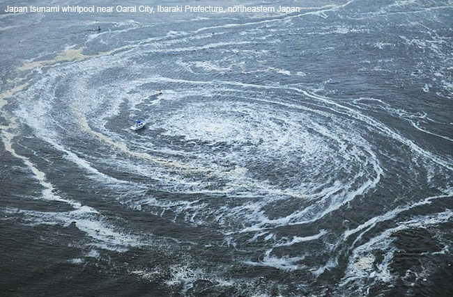 Japan tsunami whirlpool near Oarai City, Japan