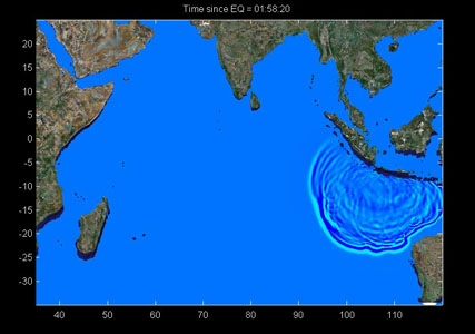 image of tsunami propagation after earthquake on July 17, 2006